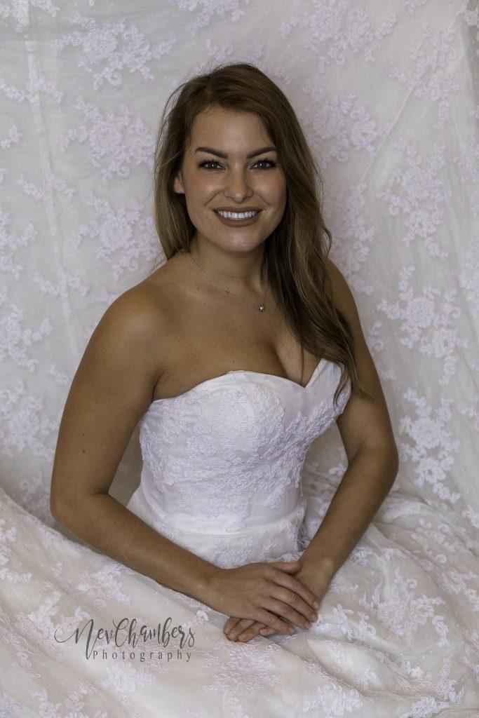 white wedding dress bride lace smiling West Yorkshire wedding photographer